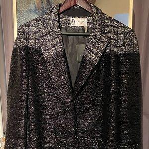 Lanvin Black & Sparkle Tweed Coat NWT sz 46